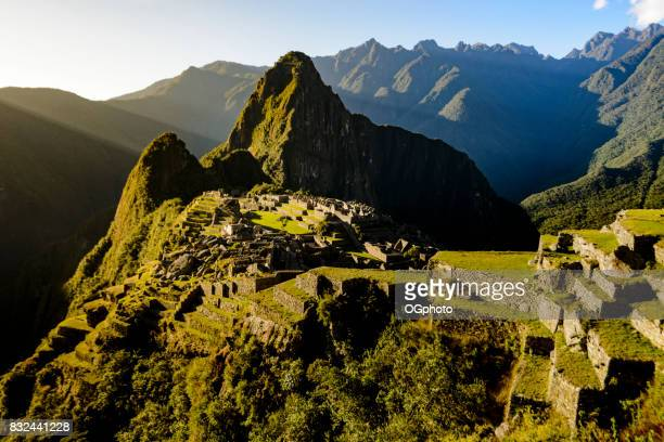 View of Machu Picchu as seen from agricultural terraces