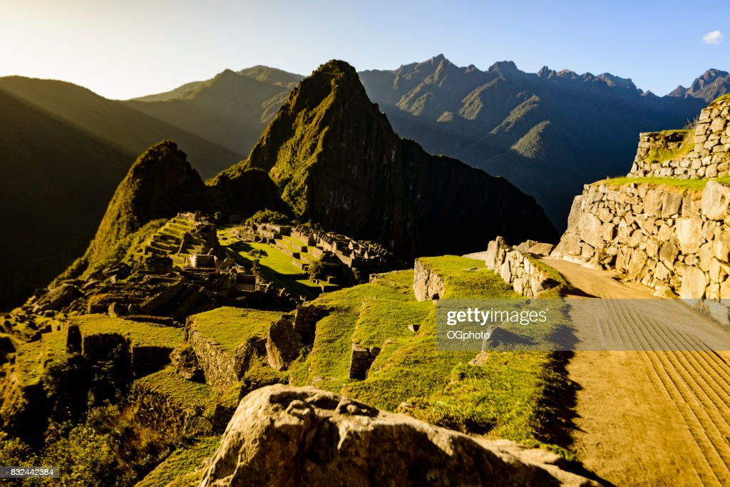View of Machu Picchu as seen from agricultural terraces : Stock Photo