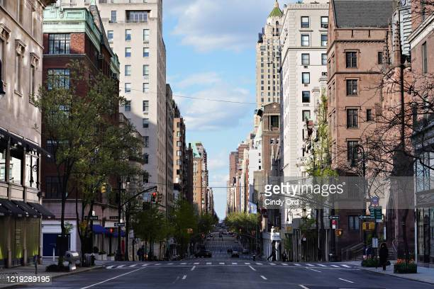 A view of Madison Avenue at 71st Street during the coronavirus pandemic on April 16 2020 in New York City COVID19 has spread to most countries around...