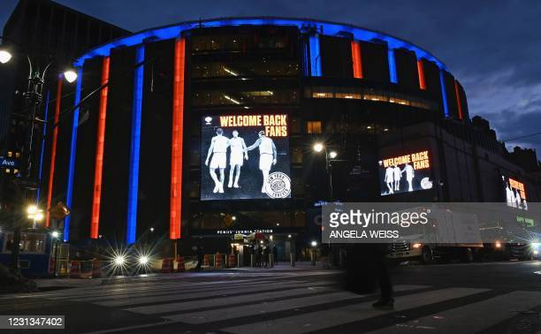 View of Madison Square Garden prior to the New York Knicks against Golden State Warriors basketball game on February 23, 2021 in New York City. - New...