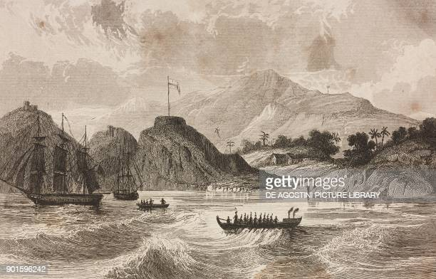 View of Madisonville Island of Noukahiva Marquesas Islands French Polynesia engraving by Danvin and Chavannes from Oceanie ou Cinquieme partie du...