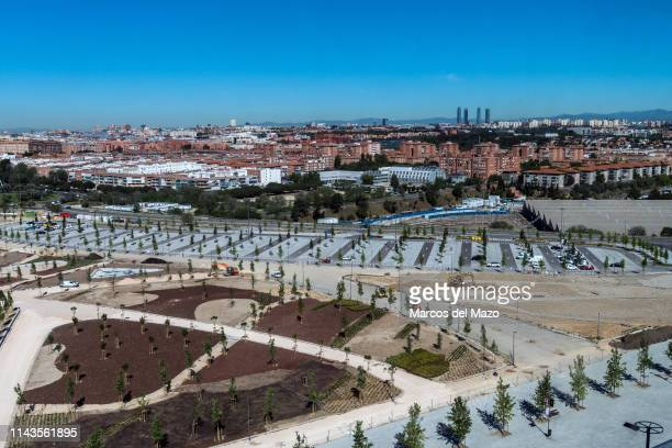 View of Madrid from the Wanda Metropolitano stadium during an open doors media day ahead of the 2019 UEFA Champions League Final. The final match...