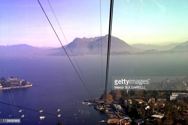 View of Maggiore lake from the cableway Stresa-Mottarone, in the area of Stresa city.