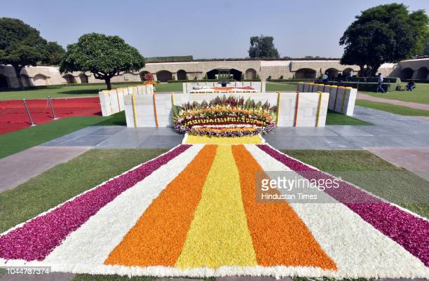 A view of Mahatma Gandhi's memorial on his 149th birth anniversary at Rajghat on October 2 2018 in New Delhi India