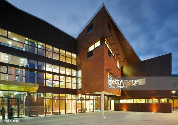 View of main entrance at dusk showing some interior elements Irish World Academy of Music and Dance Limerick Ireland Architect Daniel Cordier 2010