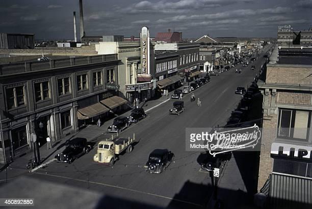 A view of Main Street in June 1939 in Hibbing Minnesota