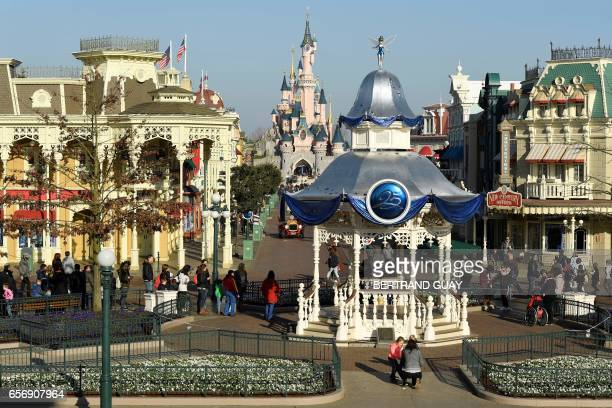 A view of Main Street is photographed on March 16 2017 as Disneyland originally Euro Disney Resort marks the 25th anniversary in MarneLaVallee east...