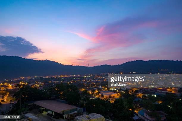 view of majestic sunrise over downtown ampang, kuala lumpur, malaysia. - shaifulzamri stock pictures, royalty-free photos & images