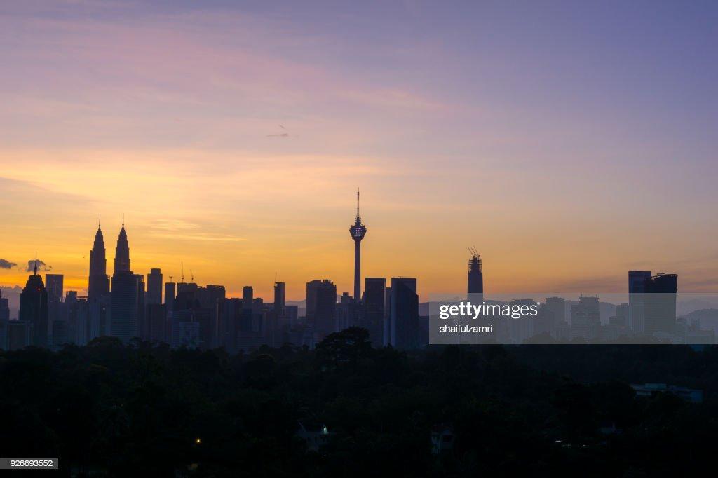 View of majestic sunrise over downtown Kuala Lumpur, Malaysia : Stock Photo