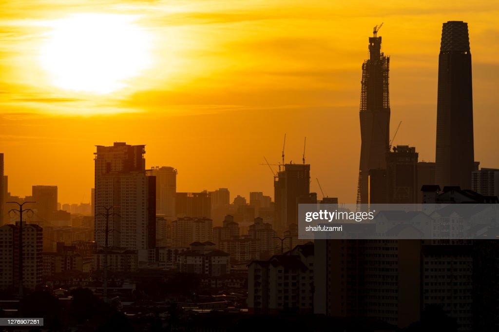 View of majestic sunset over down town Kuala Lumpur, Malaysia. : Stock Photo