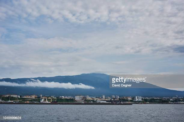 View of Malabo from the San Valentine Ferry on August 19 2018 in Malabo Equatorial Guinea Pico Basilé located on the island of Bioko can be seen in...