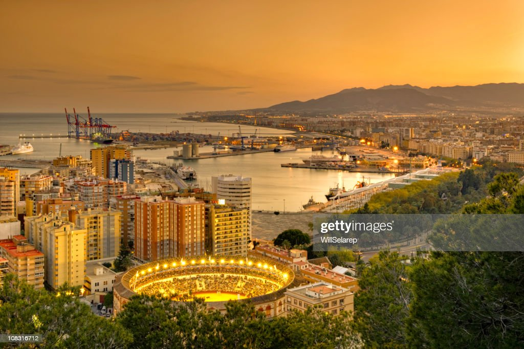 View of Malaga at twilight : Stock Photo
