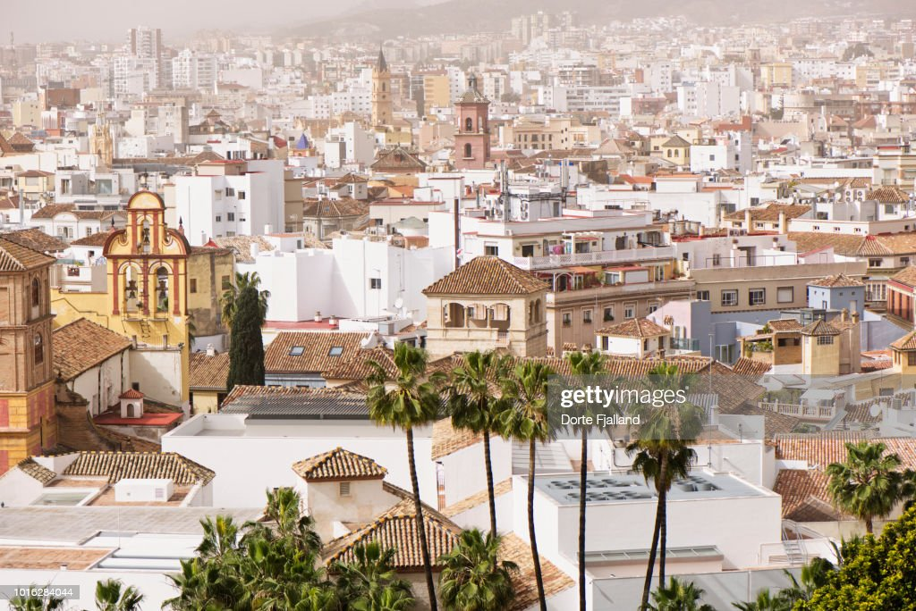 View of Malaga city on a sunny misty day : Foto de stock