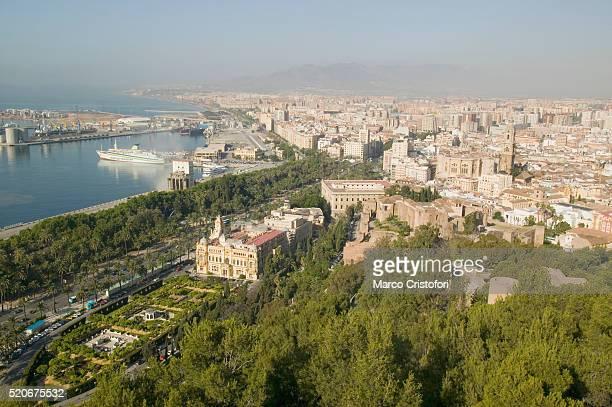 view of malaga from gibralfaro castle - marco cristofori fotografías e imágenes de stock