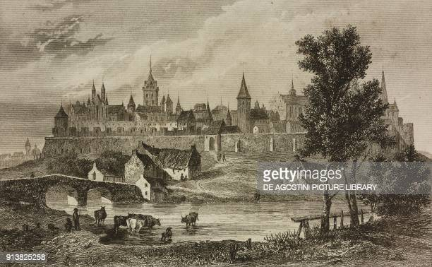 View of Malborg Poland engraving by Lemaitre Lalaisse and Arnout from Pologne by Charles Foster L'Univers pittoresque Europe published by Firmin...