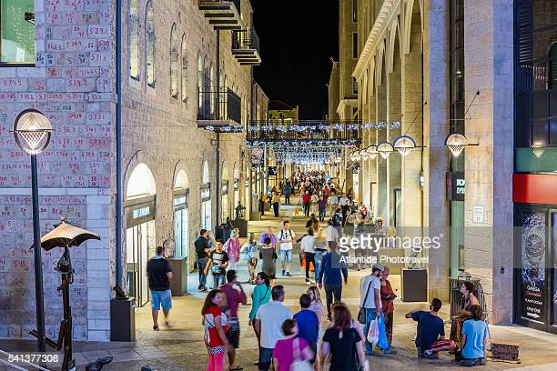 view of mamilla avenue, one of the main shopping street in town - jerusalem stock pictures, royalty-free photos & images