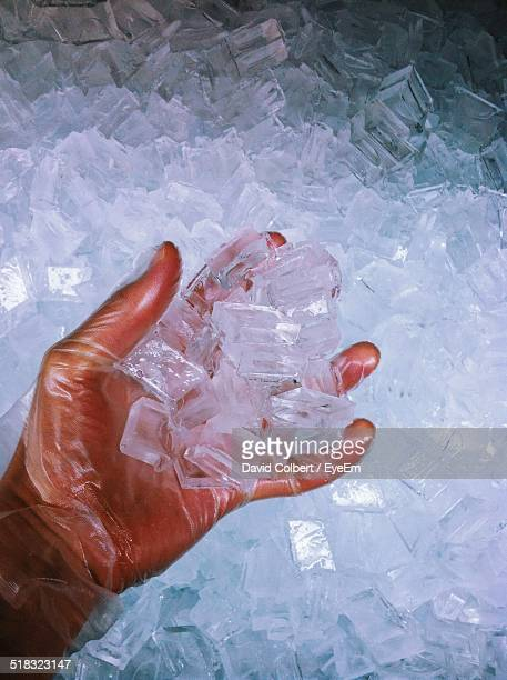 View Of Man Holding Ice Cubes