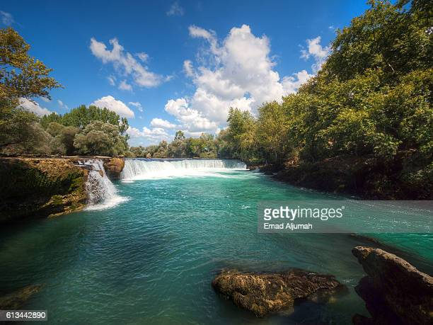 View of Manavgat Waterfall on the Manavgat River near the city of Side, Turkey
