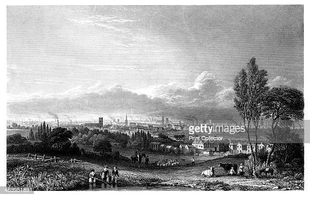 View of Manchester 1844 View looking towards the distant city of Manchester and its smoking chimneys from the surrounding countryside