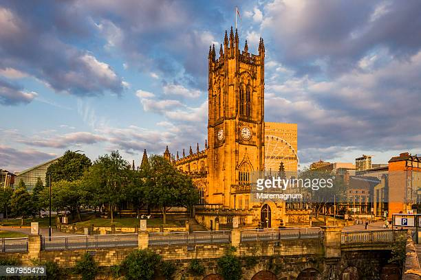 view of manchester cathedral - lancashire stock pictures, royalty-free photos & images
