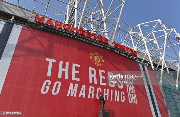 View of Manchester United's Old Trafford stadium in Manchester, northwest England on April 20, 2021. - British Prime Minister Boris Johnson will host...