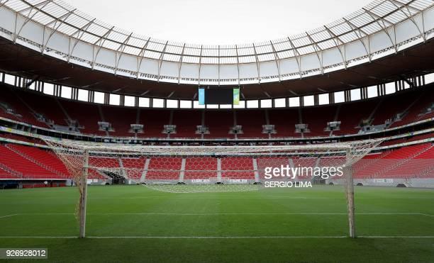 View of Mane Garrincha stadium in Brasilia on February 1, 2018. The Mane Garrincha stadium, named after one of Brazil's greatest players, was built...