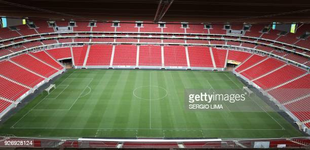 View of Mane Garrincha stadium in Brasilia on February 1 2018 The Mane Garrincha stadium named after one of Brazil's greatest players was built ahead...