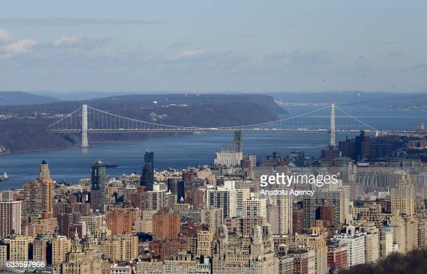 A view of Manhattan and George Washington Bridge from a terrace of the Rockefeller Center which is on the 70th floor with an altitude of 260 meters...
