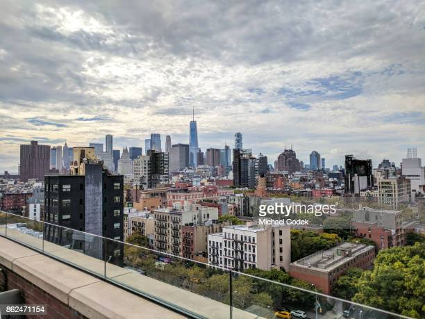 View of Manhattan financial district from east village rooftop