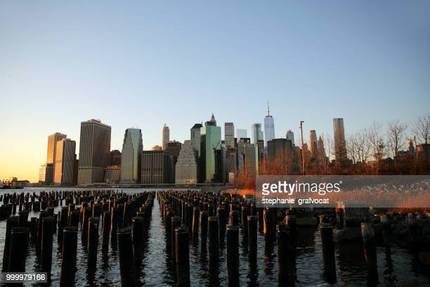 View of Manhattan from Brooklyn across East River, America, USA