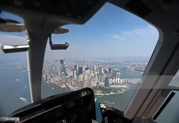 Vue de Manhattan depuis un hélicoptère d'une cabine de pilotage