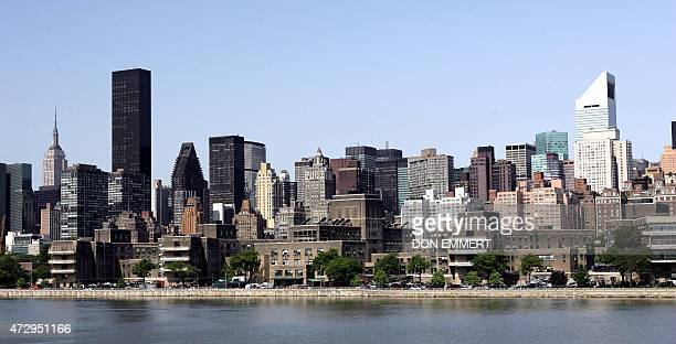 A view of Manhattan is seen from the Jean Prouve Prototype Maison Tropicale 17 May 2007 in the Queens borough of New York Prouve's prefabricated...
