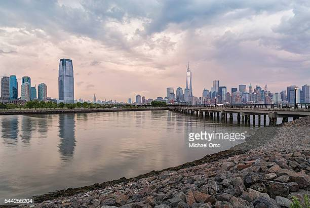 View of Manhattan skyline and World Trade Center from Liberty State Park in New Jersey.