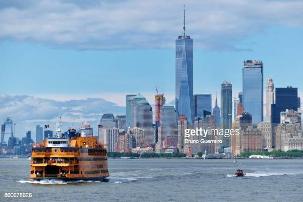View of Manhattan with Staten Island ferry on the move