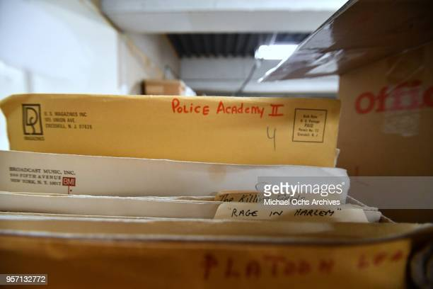 A view of manila envelopes and folders that contain pictures of the movie Police Academy II The Killing Fields Rage in Harlem in the Michael Ochs...