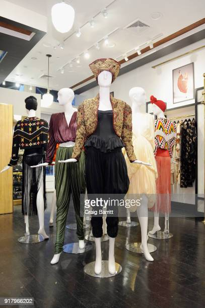 A view of mannequins during Vintage For The Future A Norma Kamali Retrospective by What Goes Around Comes Around on February 13 2018 in New York City