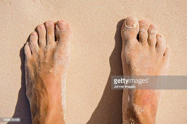 View of mans feet on sand