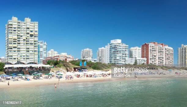 view of mansa beach in punta del este city, uruguay - uruguay stockfoto's en -beelden