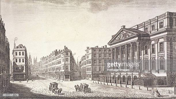 View of Mansion House London c1751 Including Lombard Street in the centre and the Cornhill on the left Also showing are three coaches and figures in...