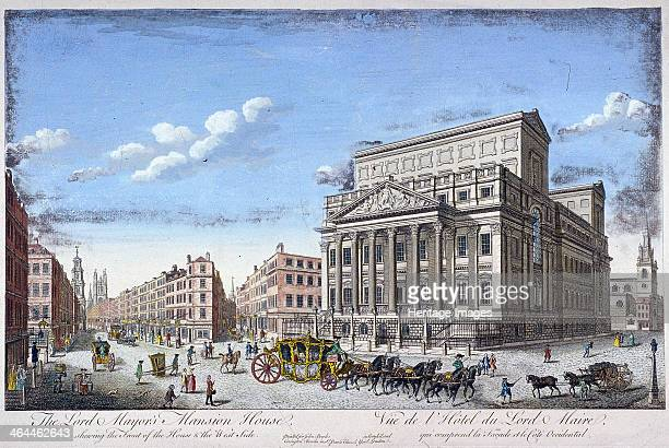 View of Mansion House London c1753 with Cornhill and Lombard Street on the left There are also figures including a milkmaid and two chairmen carrying...