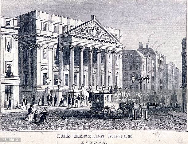 View of Mansion House London c1830 including carriages an omnibus and figures in the street below