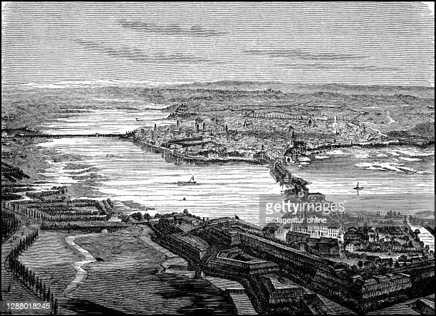 View of Mantua, Italy, 1795 / Ansicht von Mantua, Italien, um 1795, Historisch, historical, digital improved reproduction of an original from the...