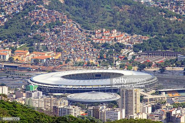 View of Maracanã stadium and Mangueira Slum, Rio de Janeiro/RJ, Brazil.