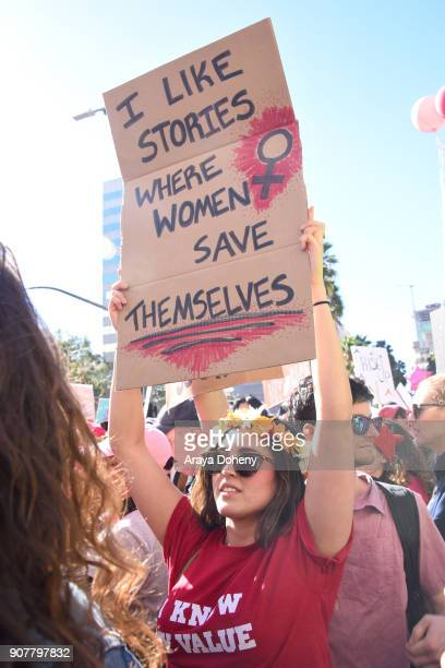 View of marcher at the 2018 Women's March Los Angeles at Pershing Square on January 20 2018 in Los Angeles California