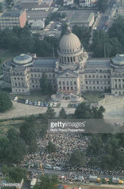 View of marchers and protestors congregating outside Mississippi State Capitol building at the end of the March Against Fear in Jackson Mississippi...