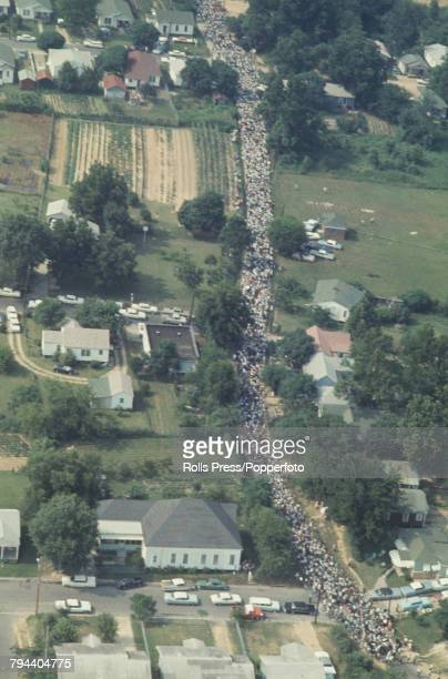 View of marchers and protestors taking part in the March Against Fear as they reach the outskirts of Jackson Mississippi on 26th June 1966 The march...