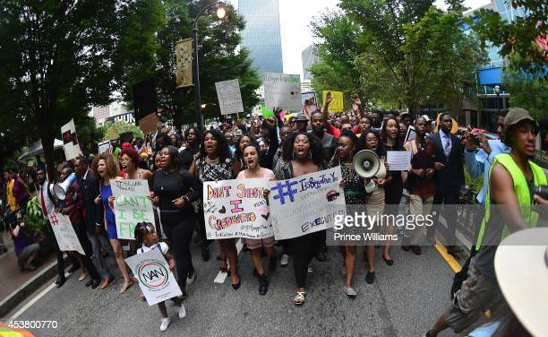 View of Marchers at the Atlanta #RallyforFerguson Justice For Mike Brown at the CNN Center on August 18 2014 in Atlanta Georgia