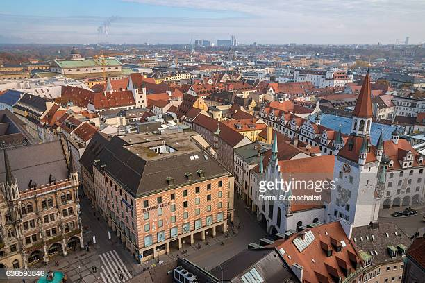 View of Marienplatz and the Old Town Hall (Rathaus) From the Tower of St Peter's Church, Munich