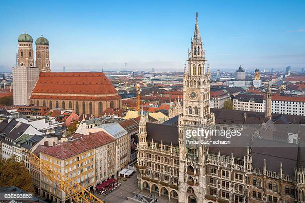 view of marienplatz, frauenkirche, and new town hall (neues rathaus) from the tower of st peter's church, munich - new town hall munich stock pictures, royalty-free photos & images