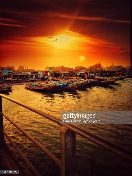 view of marina at sunset - senegal fotografías e imágenes de stock